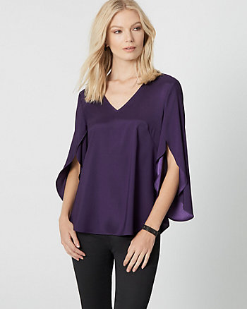 Satin V-Neck Drama Sleeve Blouse