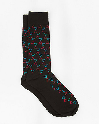 Triangular Print Cotton Blend Socks