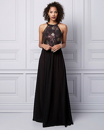 Jacquard Halter Gown