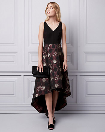 Jacquard V-Neck Gown