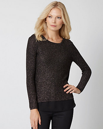 Metallic Knit & Woven 2-in-1 Sweater