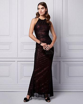 Sequin & Tulle Halter Gown