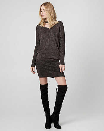 Metallic Knit Choker Neck Sweater Dress