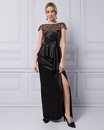 Embroidered Lace Peplum Gown