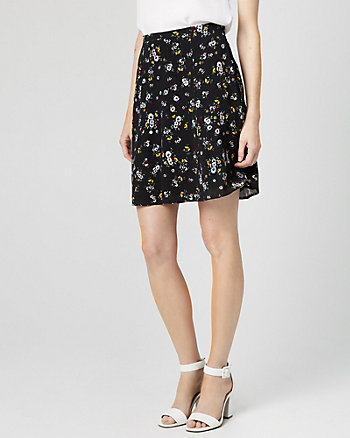 Floral Print Challis Flowy Skirt