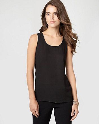 Crêpe de Chine & Jersey Scoop Neck Top