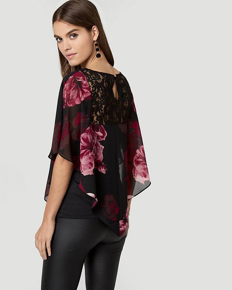 18e40de4e9e8 Floral Print Lace & Chiffon Poncho Blouse | LE CHÂTEAU