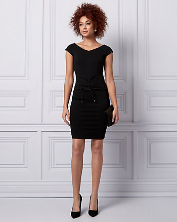 Ponte Corset-Waist Cocktail Dress