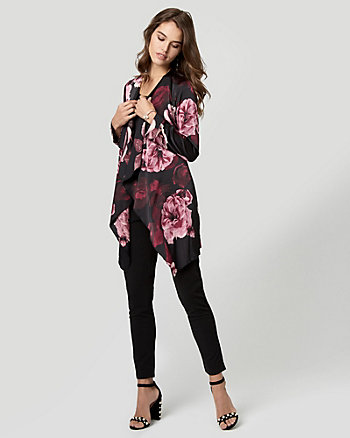 Floral Print Satin Robe Jacket