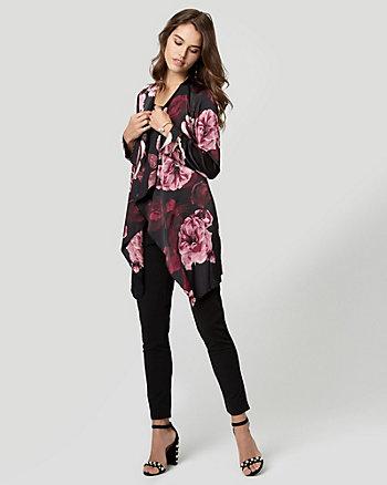 Floral Print Satin Robe Jacket