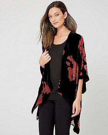 Floral Print Burnout Knit Poncho
