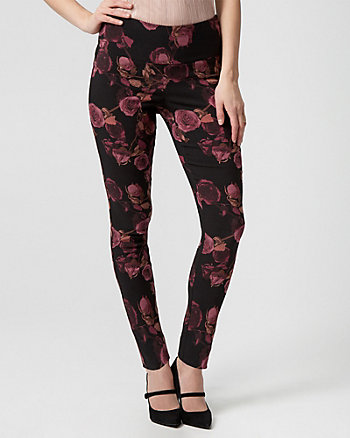 Floral Print Tech Stretch Skinny Leg Pant