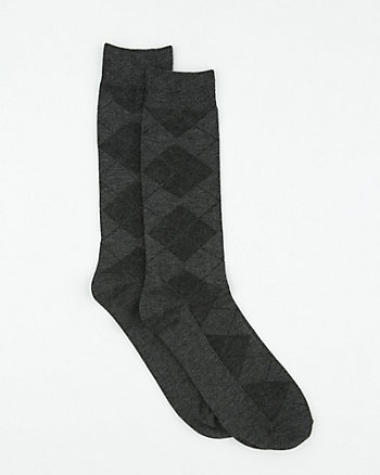Argyle Print Bamboo Blend Socks