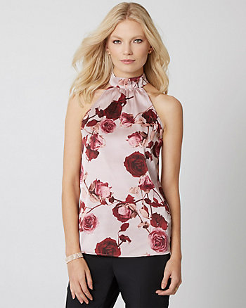 Floral Print Satin Mock Neck Blouse