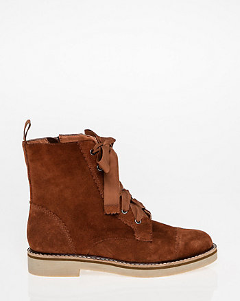 Suede Lace-Up Combat Boot