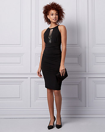 Beaded Knit Halter Cocktail Dress
