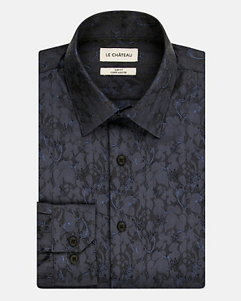 Floral Print Cotton Blend Slim Fit Shirt