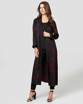 Floral Print Satin Duster Robe Jacket
