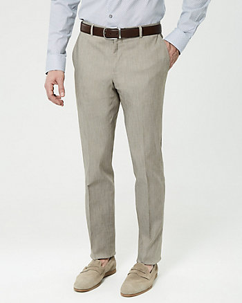 Cotton Blend Twill Slim Leg Pant