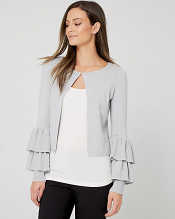 Brushed Viscose Ruffle Cardigan