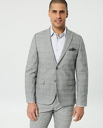 Windowpane Cotton Blend City Fit Blazer