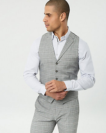 Grid Check Cotton Blend City Fit Vest