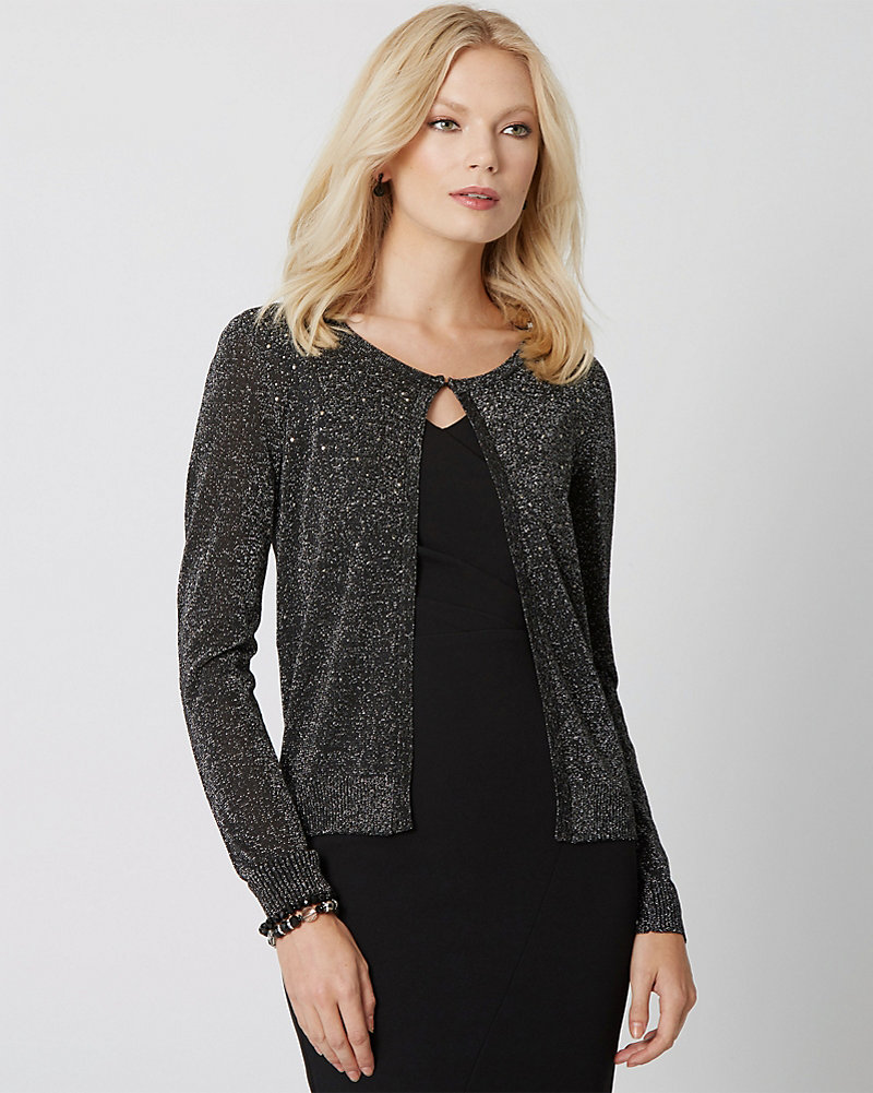 c6c86a41ba Metallic Knit Open-Front Shrug | LE CHÂTEAU
