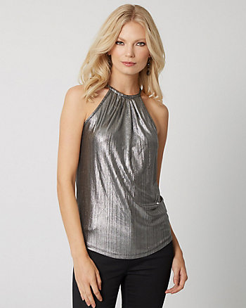 Metallic Knit Halter Top