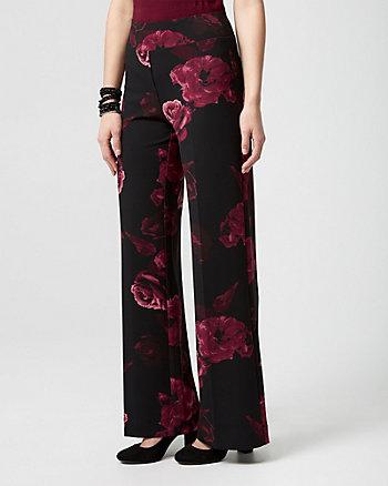 Floral Print Knit Crêpe Wide Leg Pant