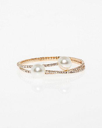 Gem & Pearl-Like Coil Bracelet