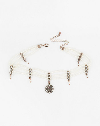 Gem & Pearl-Like Choker Necklace