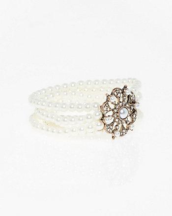 Gem & Pearl-Like Stretch Bracelet