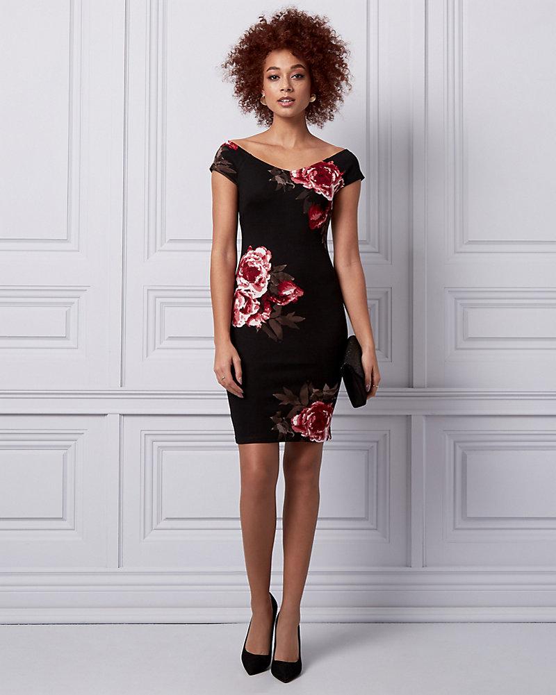 a57662de9b48fc Floral Print Ponte Off-the-Shoulder Dress