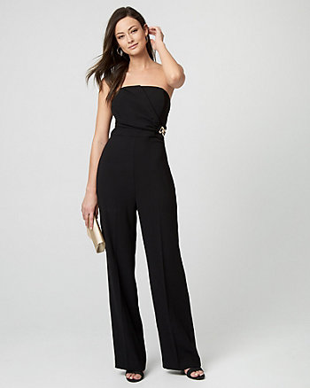 Crêpe Strapless Side-Buckle Jumpsuit