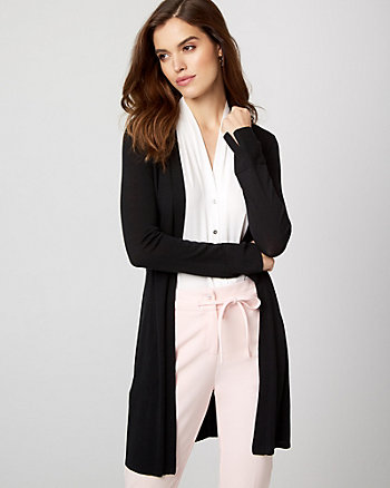 Cotton Blend Belted Cardigan