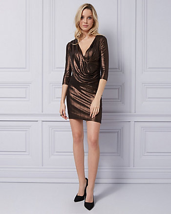 Foil Knit V-Neck Cocktail Dress