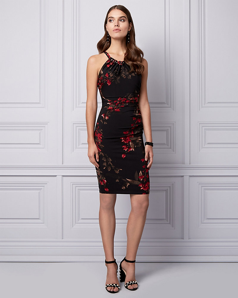 bddd1cb83d1 Floral Print Knit Halter Cocktail Dress