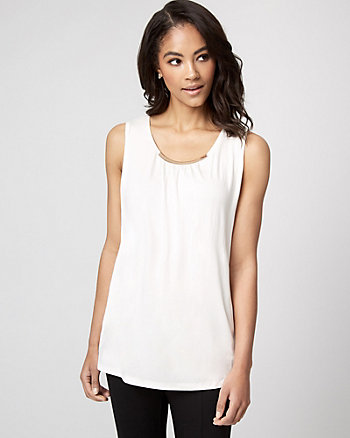 Viscose Blend Scoop Neck Sleeveless Top