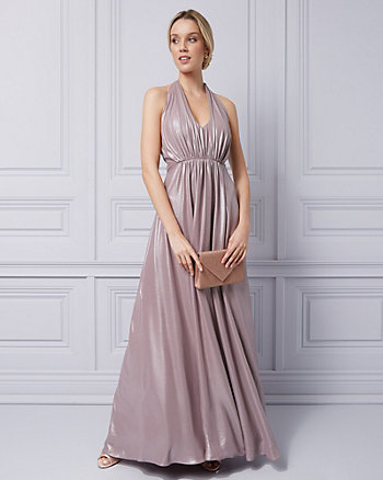Foil Chiffon Open Back Gown