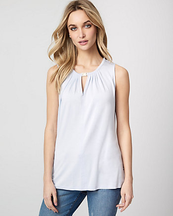 Viscose Blend Split Neck Sleeveless Top