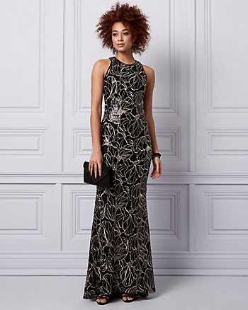 Embroidered Sequin Halter Gown