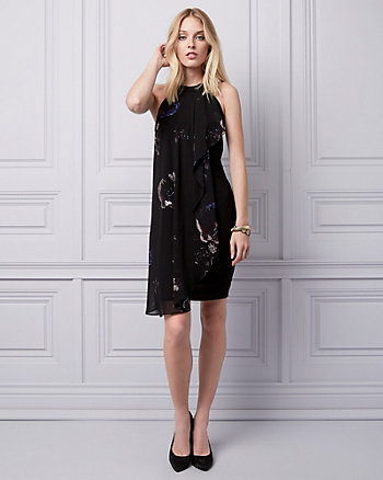 Floral & Bird Print Chiffon Cocktail Dress