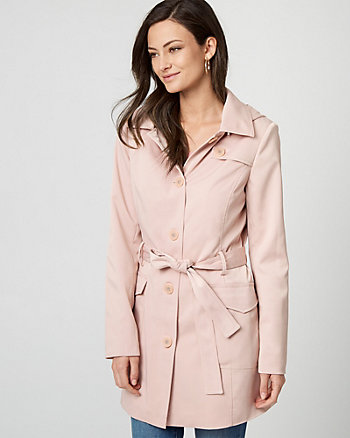 Cotton Blend Belted Trench Coat