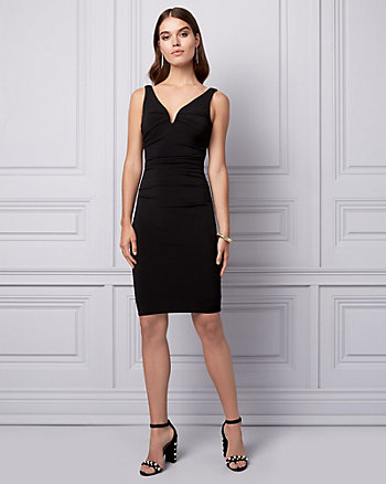 Knit Deep V-Neck Cocktail Dress