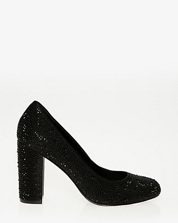 Embellished Satin Almond Toe Pump