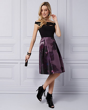 Floral Satin Off-the-Shoulder Cocktail Dress