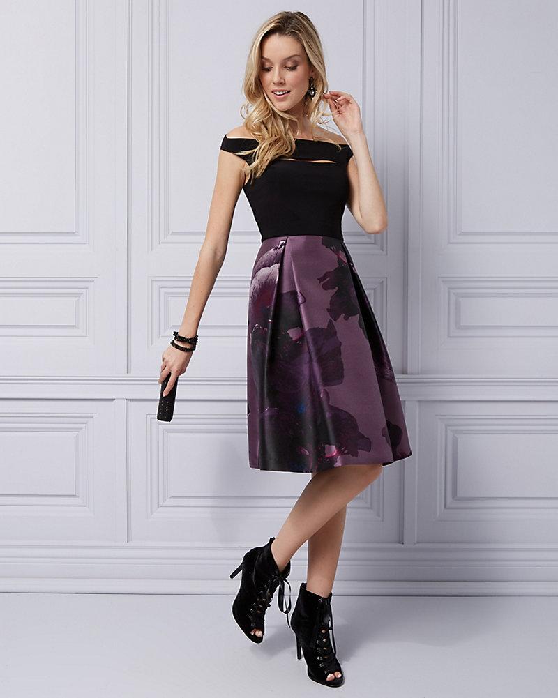 020fee1522f Floral Satin Off-the-Shoulder Cocktail Dress