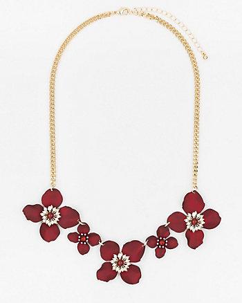 Floral Gem & Pearl-Like Necklace