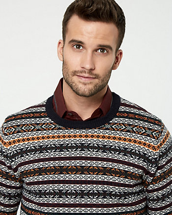 Fair Isle Wool Blend Crew Neck Sweater