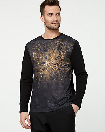 Printed Cotton Blend Crew Neck T-Shirt